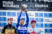 Podium with Philippe GILBERT (BEL/Deceuninck-Quick Step) who wins his first Roubaix and is now 1 win away of having won ALL 5 Monument Classics (Milano-Sanremo still missing from his list)<br /> <br /> podium:<br /> <br /> 1st place - Philippe Gilbert (BEL/Deceuninck Quick Step)<br /> 2nd place - Nils Pollit (GER/Katusha Alpecin)<br /> 3th place - Yves Lampaert (BEL/Deceuninck Quick Step)<br /> <br /> <br /> <br /> 117th Paris-Roubaix (1.UWT)<br /> 1 Day Race: Compiègne-Roubaix (257km)<br /> <br /> ©kramon