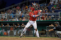 Batavia Muckdogs first baseman Sean Reynolds (25) at bat in front of catcher Zach Susi (3) during a game against the West Virginia Black Bears on July 3, 2018 at Dwyer Stadium in Batavia, New York.  Batavia defeated West Virginia 5-4.  (Mike Janes/Four Seam Images)