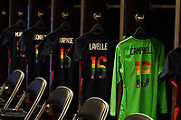 HOUSTON, TX - JUNE 13: USWNT locker room before a game between Jamaica and USWNT at BBVA Stadium on June 13, 2021 in Houston, Texas.
