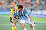 The Hague, Netherlands, June 13: Aran Zalewski #17 of Australia and Manuel Brunet #24 of Argentina battle for the ball during the field hockey semi-final match (Men) between Australia and Argentina on June 13, 2014 during the World Cup 2014 at Kyocera Stadium in The Hague, Netherlands. Final score 5-1 (3-0)  (Photo by Dirk Markgraf / www.265-images.com) *** Local caption ***