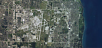 aerial photo map of General Mitchell International Airport, Milwaukee, Wisconsin.