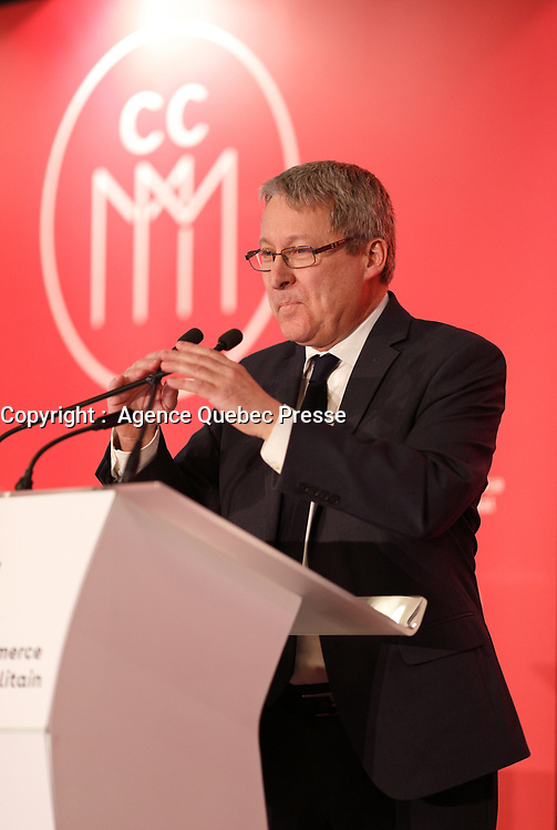Le PDG de la Societe des Alcools du Quebec, Alain Brunet a la tribune de la Chambre de Commerce du Montreal Metropolitain, le 16 mars 2018, au Sheraton<br /> <br /> <br /> PHOTO : Agence Quebec Presse <br /> <br /> <br /> <br /> <br /> <br /> <br /> <br /> PHOTO :   Agence Quebec Presse