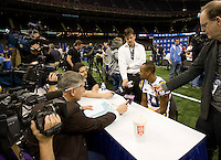 Russell Shepard of LSU talks with the reporters during BCS Media Day at Mercedes-Benz Superdome in New Orleans, Louisiana on January 6th, 2012.