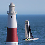 Phaedo3 sailing around Portland Bill.