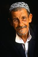Portrait of an elderly, smiling Jewish man wearing a yarmulke. Israel.