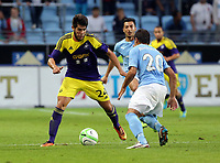 Thursday 08 August 2013<br /> Pictured L-R: Alejandro Pozuelo against Ricardihno of Malmo <br /> Re: Malmo FF v Swansea City FC, UEFA Europa League 3rd Qualifying Round, Second Leg, at the Swedbank Stadium, Malmo, Sweden.