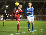 Aberdeen v St Johnstone…10.12.16     Pittodrie    SPFL<br />Jayden Stockley clears from David Wotherspoon<br />Picture by Graeme Hart.<br />Copyright Perthshire Picture Agency<br />Tel: 01738 623350  Mobile: 07990 594431