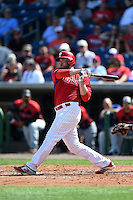 Philadelphia Phillies outfielder Darin Ruf (18) during an exhibition game against the University of Tampa on March 1, 2015 at Bright House Field in Clearwater, Florida.  University of Tampa defeated Philadelphia 6-2.  (Mike Janes/Four Seam Images)