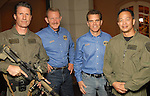 From left: SWAT team member George Griger, Don McKinney, Brian Lumpkin and SWAT team member Ed Lem at the Second Annual True Blue Gala sponsored by the Houston Police Foundation at the home of Paige and Tilman Fertitta Saturday Oct. 17,2009. (Dave Rossman/For the Chronicle)