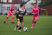 Anke Vanhooren (7) of Eendracht Aalst and Jessica Silva Valdebenito (18) of Sporting Charleroi pictured during a female soccer game between Sporting Charleroi and Eendracht Aalst on the 8th matchday in play off 2 of the 2020 - 2021 season of Belgian Scooore Womens Super League , tuesday 18 th of May 2021 in Marcinelle , Belgium . PHOTO SPORTPIX.BE   SPP   STIJN AUDOOREN