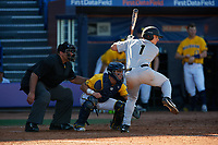 Army West Point third baseman Anthony Giachin (1) at bat in front of catcher Marcus Chavez and umpire Mark Spicer during a game against the Michigan Wolverines on February 17, 2018 at First Data Field in St. Lucie, Florida.  Army defeated Michigan 4-3.  (Mike Janes/Four Seam Images)