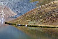 Reflections, Upper Blue Lake, Sneffels Wilderness, Colorado.<br /> <br /> Canon EOS 5D Mk II, 70-200 f/2.8L lens