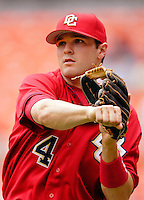 11 June 2006: Brendan Harris, infielder for the Washington Nationals, takes some warmup tosses prior to a game against the Philadelphia Phillies at RFK Stadium, in Washington, DC. The Nationals shut out the visiting Phillies 6-0 to take the series three games to one...Mandatory Photo Credit: Ed Wolfstein Photo..