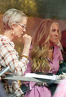 NEW YORK, NY - July 19: Sarah Jessica Parker, Cynthia Nixon on the set of the HBOMax Sex and the City reboot series And Just Like That on July 19, 2021 in New York City. <br /> CAP/MPI/RW<br /> ©RW/MPI/Capital Pictures