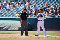 First base umpire Nestor Ceja during the game between the Salt Lake Bees and the Albuquerque Isotopes at Smith's Ballpark on April 22, 2018 in Salt Lake City, Utah. The Bees defeated the Isotopes 11-9. (Stephen Smith/Four Seam Images)