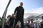 Belgian National Champion Oliver Naesen (BEL) AG2R La Mondiale on stage at the team presentation before the 116th edition of Paris-Roubaix 2018. 7th April 2018.<br /> Picture: ASO/Pauline Ballet | Cyclefile<br /> <br /> <br /> All photos usage must carry mandatory copyright credit (© Cyclefile | ASO/Pauline Ballet)