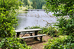 Picnic table at Lake Sylvia State Park, near Montesano, Washington in Grays Harbor County.