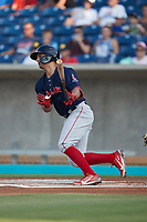 Nick Yorke (3) of the Salem Red Sox follows through on his swing against the Kannapolis Cannon Ballers at Atrium Health Ballpark on July 30, 2021 in Kannapolis, North Carolina. (Brian Westerholt/Four Seam Images)