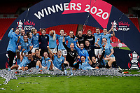 1st November 2020; Wembley Stadium, London, England; Womens FA Cup Final Football, Everton Womens versus Manchester City Womens; Manchester City Women squad pose with the Womens FA Cup Final Trophy