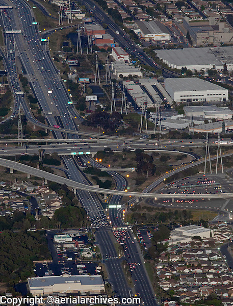 aerial photograph of traffic at the intersection of Artesia Blvd (Route 91) and interstate I-110, Gardena, Los Angeles County, California