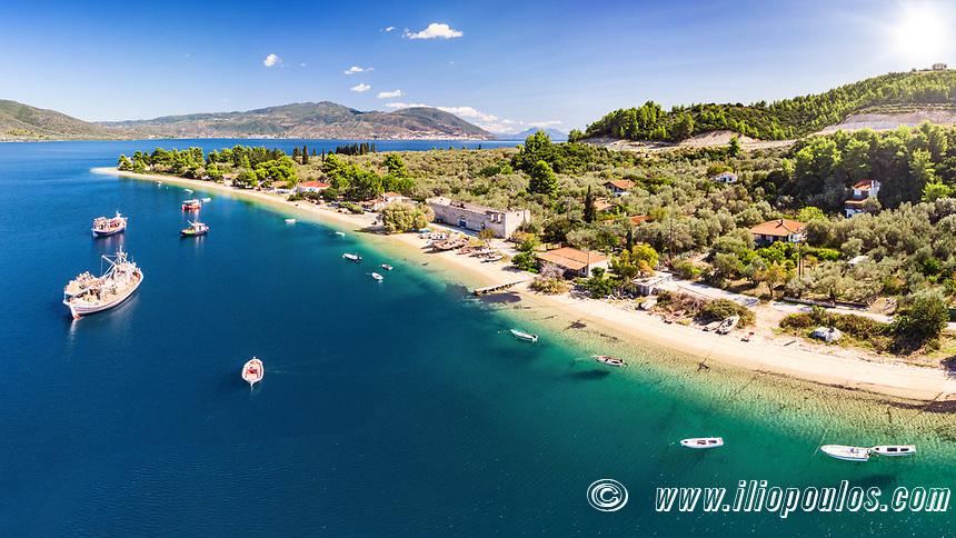 The beach Limani (Mylos) in Gialtra Bay in Evia island, Greece