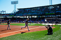 BOSTON, MASS. - SEPT. 28, 2014: Derek Jeter leaves the field after warmups before the New York Yankees and Boston Red Sox play at Fenway Park. The game is last game of Derek Jeter's career. M. Scott Brauer for The New York Times