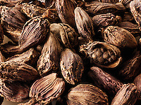 Whole black cardamoms spices - stock photos