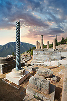 The Tripod of Plataeans column and the Altar of the Chiots with the columns of the temple of Apollo behind, Delphi Archaeological site, Delphi, Greece