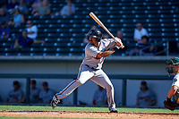 Surprise Saguaros right fielder LaMonte Wade (15), of the Minnesota Twins organization, at bat during a game against the Mesa Solar Sox on October 20, 2017 at Sloan Park in Mesa, Arizona. The Solar Sox walked-off the Saguaros 7-6.  (Zachary Lucy/Four Seam Images)