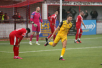 Ollie Muldoon of Hornchurch scores the second goal for his team and celebrates during Bowers & Pitsea vs Hornchurch, Emirates FA Cup Football at The Len Salmon Stadium on 2nd October 2021