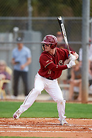 Boston College Eagles shortstop Jake Palomaki (11) at bat during a game against the Minnesota Golden Gophers on February 23, 2018 at North Charlotte Regional Park in Port Charlotte, Florida.  Minnesota defeated Boston College 14-1.  (Mike Janes/Four Seam Images)
