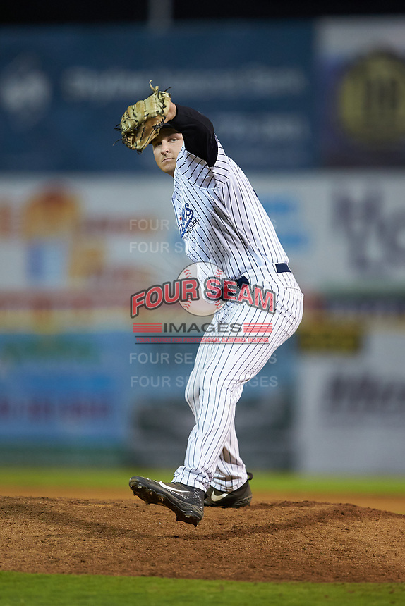 Pulaski Yankees relief pitcher Hayden Wesneski (71) in action against the Burlington Royals at Calfee Park on August 31, 2019 in Pulaski, Virginia. The Yankees defeated the Royals 6-0. (Brian Westerholt/Four Seam Images)