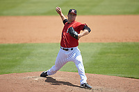 Kannapolis Intimidators relief pitcher Austin Conway (30) in action against the Lexington Legends at Kannapolis Intimidators Stadium on May 15, 2019 in Kannapolis, North Carolina. The Legends defeated the Intimidators 4-2. (Brian Westerholt/Four Seam Images)