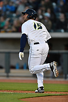 Left fielder Tim Tebow (15) of the Columbia Fireflies runs the bases after his first Class A home run a game against the Augusta GreenJackets on Opening Day, Thursday, April 6, 2017, at Spirit Communications Park in Columbia, South Carolina. Columbia won, 14-7. (Tom Priddy/Four Seam Images)