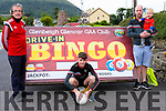 At the launch of Glenbeigh Glencar GAA's Drive-In Bingo  fund raiser for the junior pitch being held on Friday 7th August at 7pm with a Jackpot of €1,500<br /> <br /> L-R Brian Sugrue,Tadhg O'Sullivan , Peter O'Sullivan with son Oran.<br /> <br /> <br /> contact Peter O'Sullivan 087 9408 217
