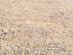 Close up view of the limestone blocks constructing Khafre's Pyramid near Cairo, Egypt.