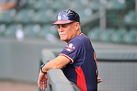 Manager Randy Ingle (12) of the Rome Braves in a game against the Greenville Drive on Tuesday, August 30, 2016, at Fluor Field at the West End in Greenville, South Carolina. Greenville won, 7-3. (Tom Priddy/Four Seam Images)