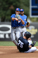 Toronto Blue Jays second baseman Gunnar Heidt (28) as shortstop Deiferson Barreto backs up the play during an Instructional League game against the New York Yankees on September 24, 2014 at George M. Steinbrenner Field in Tampa, Florida.  (Mike Janes/Four Seam Images)