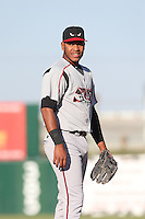 Gabriel Quintana (15) of the Lake Elsinore Storm in the field during a game against the Lancaster JetHawks at The Hanger on May 9, 2015 in Lancaster, California. Lancaster defeated Lake Elsinore, 3-1. (Larry Goren/Four Seam Images)