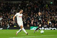 30th September 2021; Tottenham Hotspur Stadium. Tottenham, London, England; UEFA Conference League football, Tottenham v NS Mura: Harry Kane of Tottenham Hotspur scores for 4-1 in the 77th minute from a cross by Son