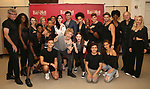 """Andre Polec, Christina Bennington, Bradley Dean, Lena Hall, Avoince Hoyles, Danielle Steers, Tyrick Wiltez Jones, Jay Scheib, Xena Gusthart and the cast during Jim Steinman's """"Bat Out of Hell - The Musical"""" - Open Rehearsal at New York City Center on July 30, 2019 in New York City."""