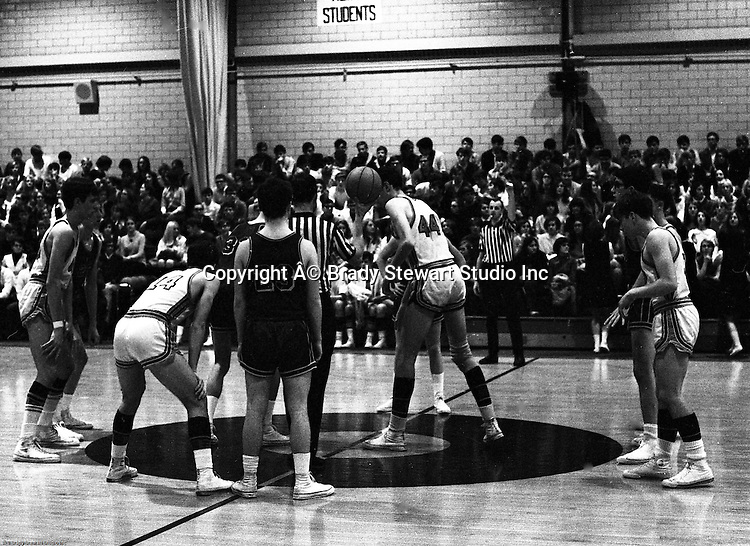 Bethel Park PA:  A jump ball at the beginning of the basketball game against the Mt Lebanon Blue Devils at Bethel Park Gymnasium. Others in the photo;  John Klein 44, Mike Stewart, Bruce Evanovich, Steve Zemba. The JV Team was coached by Mr. Reno and the Bethel Park JVs won the Section Championship.  The team included; Scott Streiner, Steve Zemba, John Klein, Mike Stewart, Bruce Evanovich, Jeff Blosel, and Tim Sullivan.