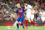 FC Barcelona's Leo Messi (l) and Sevilla FC's Diego Gonzalez during Supercup of Spain 2nd match.August 17,2016. (ALTERPHOTOS/Acero)