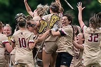 NEWTON, MA - MAY 22: Annie Walsh #3 of Boston College celebrates victory with her teammates after NCAA Division I Women's Lacrosse Tournament quarterfinal round game between Notre Dame and Boston College at Newton Campus Lacrosse Field on May 22, 2021 in Newton, Massachusetts.