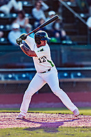 24 August 2019: Vermont Lake Monsters infielder Jordan Diaz in action against the Lowell Spinners at Centennial Field in Burlington, Vermont. The Lake Monsters fell to the Spinners 3-2 in NY Penn League action. Diaz was awarded the 2019 Tom Racine Award prior to the start of the game. Mandatory Credit: Ed Wolfstein Photo *** RAW (NEF) Image File Available ***