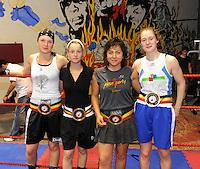 4x Belgisch Kampioen in Boxclub Lichtervelde..vlnr : Oshin Derieuw , Davine Delaere , Anna Beuselinck en Delfine Persoon..foto David Catry / VDB