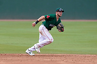Shortstop Cam Cannon (4) of the Greenville Drive in a game against the Asheville Tourists on Sunday, June 6, 2021, at Fluor Field at the West End in Greenville, South Carolina. (Tom Priddy/Four Seam Images)