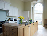 A contemporary family kitchen has been created in the family wing of the castle