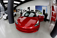 NEW YORK - NEW YORK - MARCH 24: View of the  Tesla store in Lower Manhattan on March 24, 2021 in New York. Tesla Inc said it bought $1.5 billion worth of bitcoin and would soon accept it as a form of payment for its cars. (Photo by John Smith/VIEWpress)