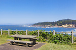 Picnic area in Rocky Creek State Scenic Viewpoint on U.S. Highway 101 along the Oregon Coast.  Near Lincoln City, Depot Bay and Newport.  Overlooing Whale Cove.